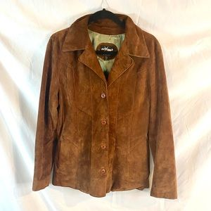 Maxima tan suede leather button up western jacket